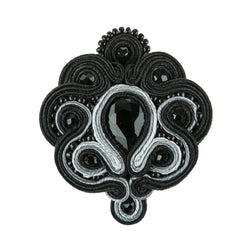 Soutache Brooch Pin Dress Coat Chic for females-Black Color