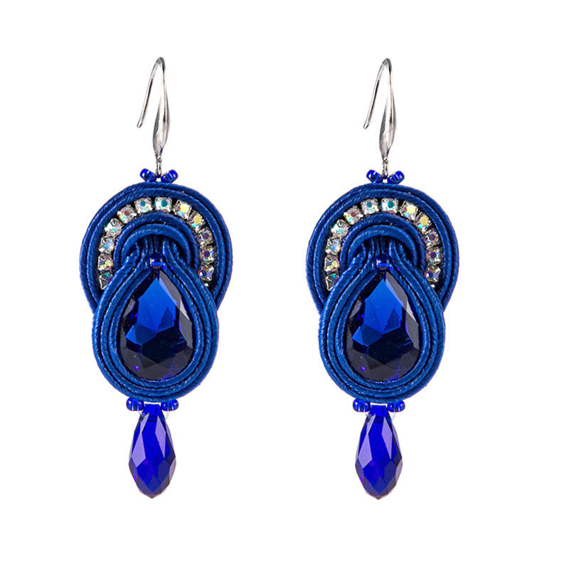 Creative Big Hanging Earring Style Drop Soutache Earrings For Women-Blue Color