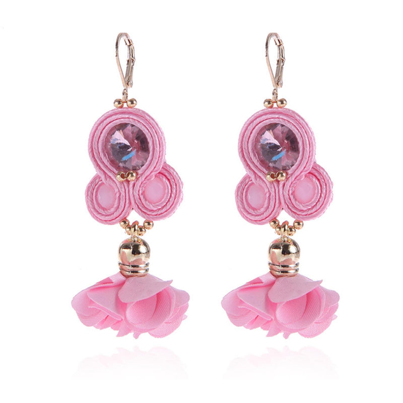 Handmade Soutache Long Hanging Earring Jewelry for Women-Pink Color