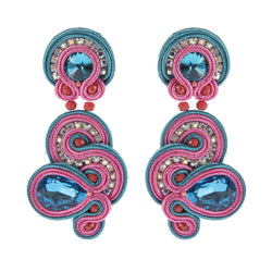 Handmade Soutache Weaving Hanging Earring Leather Drop Earrings For Women - Pink, Blue Color
