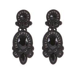 Big Hanging Leather Soutache Drop Earrings for Women-Black Color