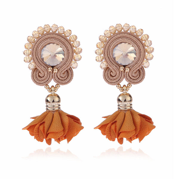 Soutache Big Drop Leather Hanging Earrings Jewelry for Women