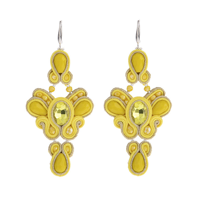 Butterfly shaped soutache Leather Drop Earrings for Women-Yellow Color