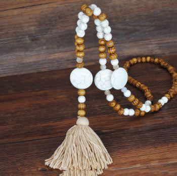 Handmade Wooden Beads Long Necklace & Pendant - Round Shape with Brown Tassel