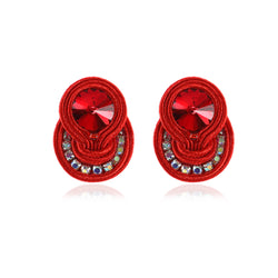 Soutache Ethnic Style Drop Earring for women- Red color