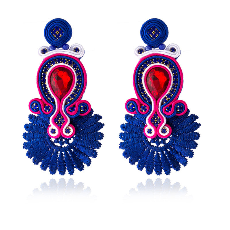 Soutache Ethnic Earrings for Women with Crystal Decoration Drop Earring- Blue Color