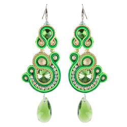 Soutache Crystal Decorative Hanging Earrings for Ladies -Green Color