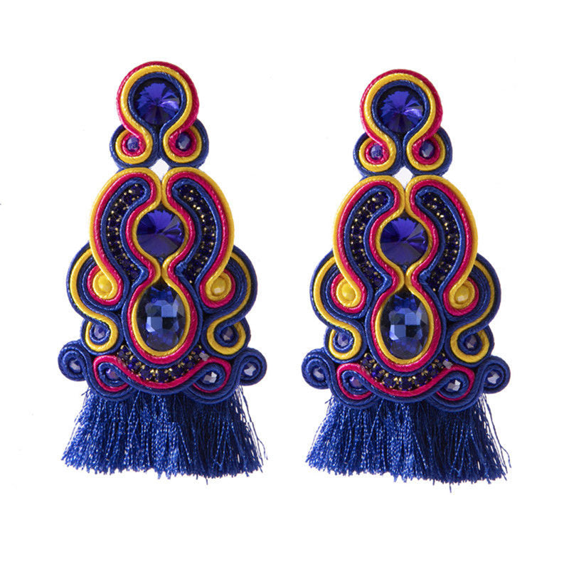 Ethnic Style Leather Soutache Earrings For Women- Blue Color