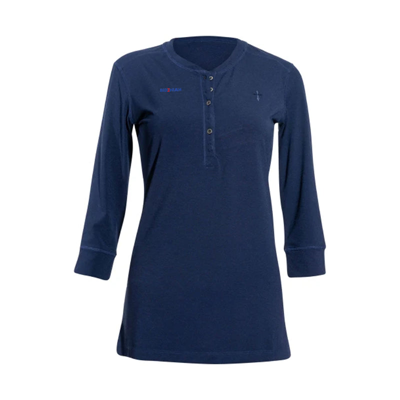 Casual Dress Top With Open Chest Buttons-Royal Navy
