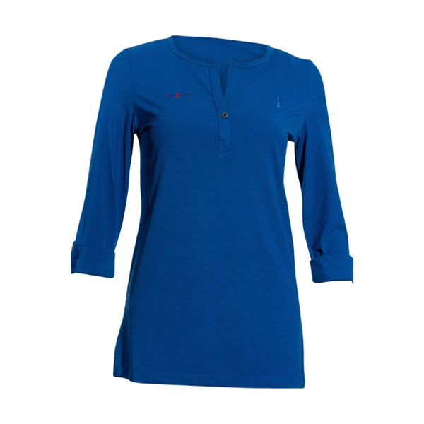 Cross Logo Three Quater Sleeve with Open Chest Button- Blue
