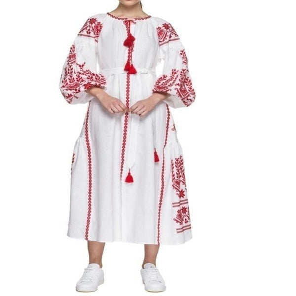 Women's Long sleeves White Dress With Red Embroidery 100 Pcs