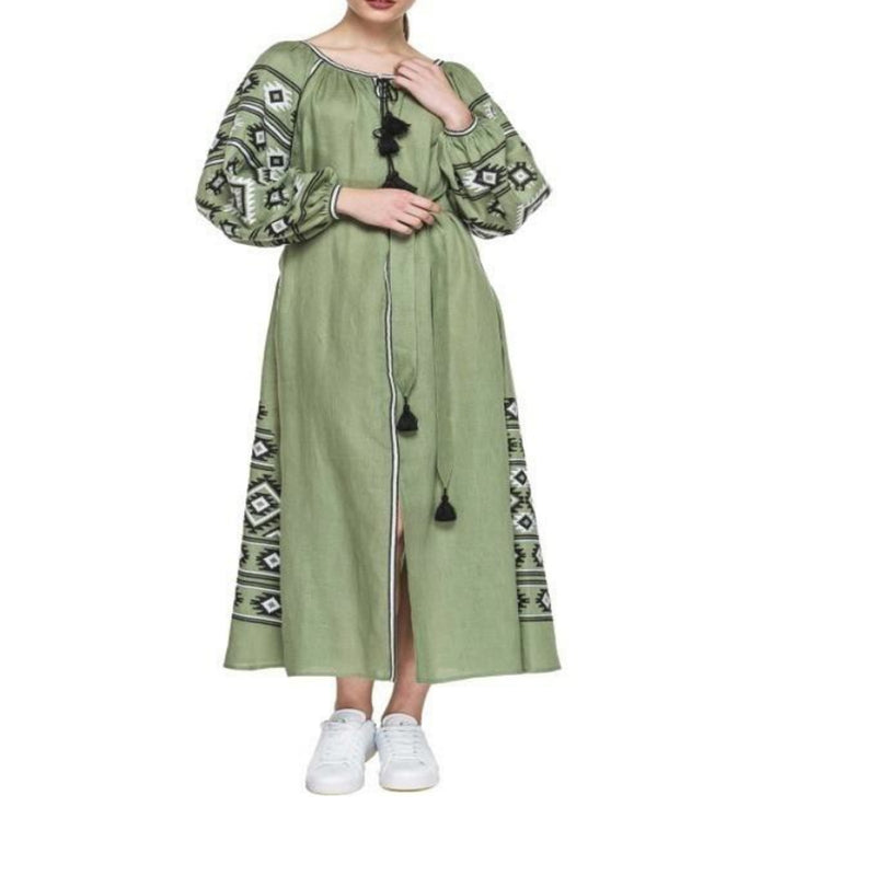 Women's Long sleeves Green Dress With Black and White Embroidery 12 Pcs