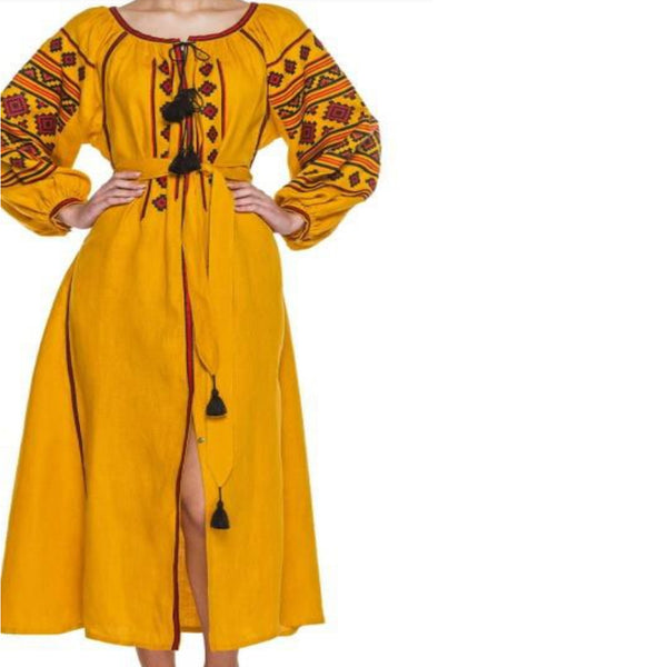 Women's Long sleeves Yellow Dress With Multicolor Embroidery 12 Pcs