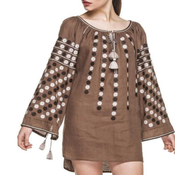 Women's Long Sleeves Brown Top With Black and White Embroidery 12 Pcs
