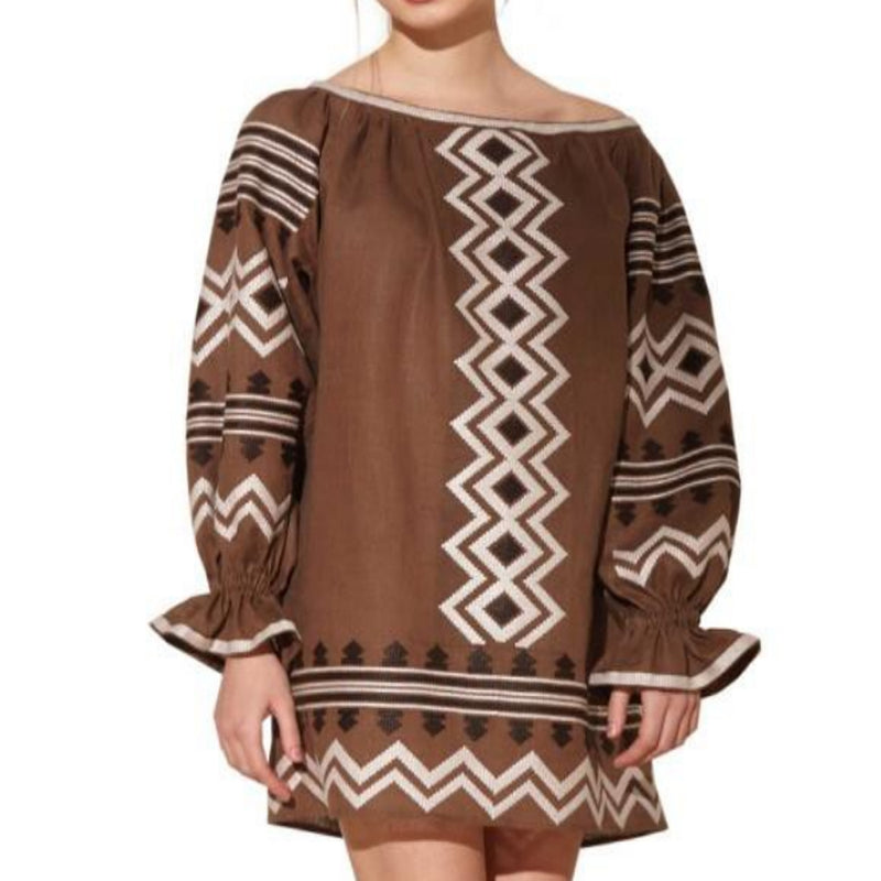 Women's Long Sleeves Brown Top With Black and White Embroidery 400 Pcs
