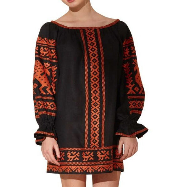 Women's Long Sleeves Black Top With Orange Embroidery 12 Pcs