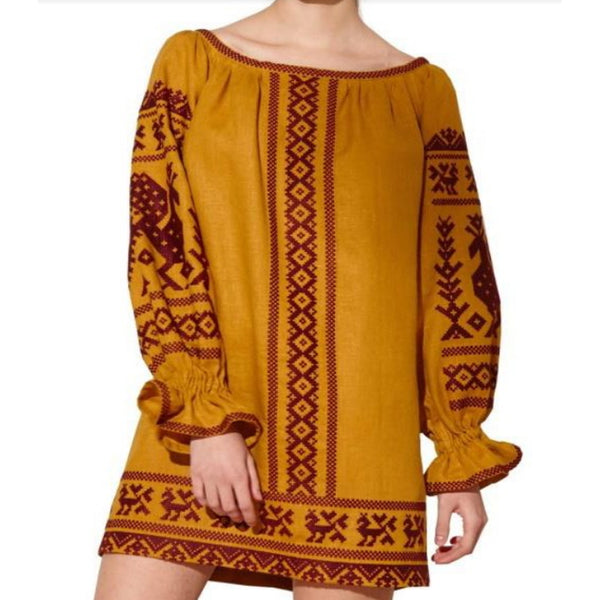 Women's Long Sleeves Yellow Top With Brown Embroidery 12 Pcs