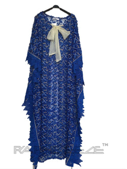 Rich Blue Cotton Lace Caftan Maxi