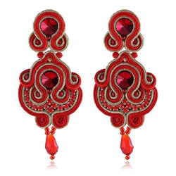 Soutache Rhinestone Ethnic Hanging Drop Earring Jewelry For Women-Red Color