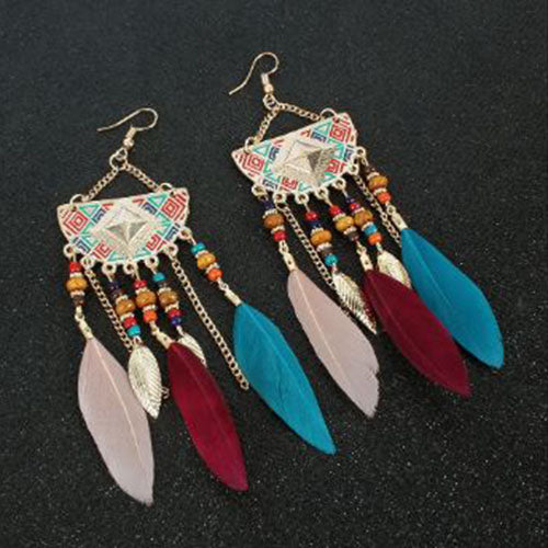 Bohemian Crescent Style Beaded Earrings For Women's Retro Long Multi Color Tassel