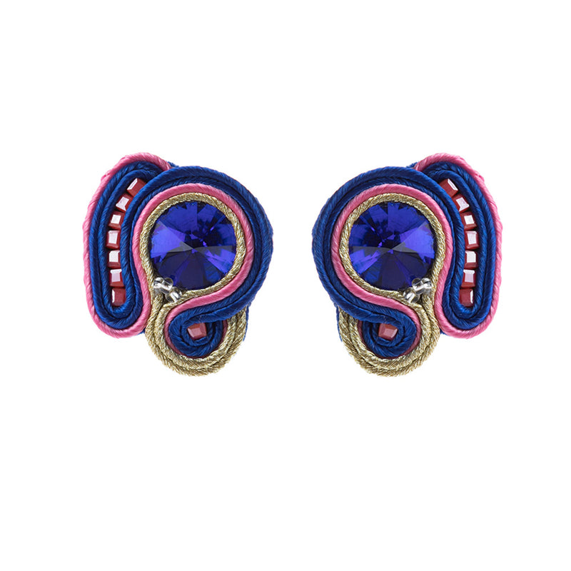 Light Luxury Decorative Charm Handmade Soutache Earring for women- Blue Color