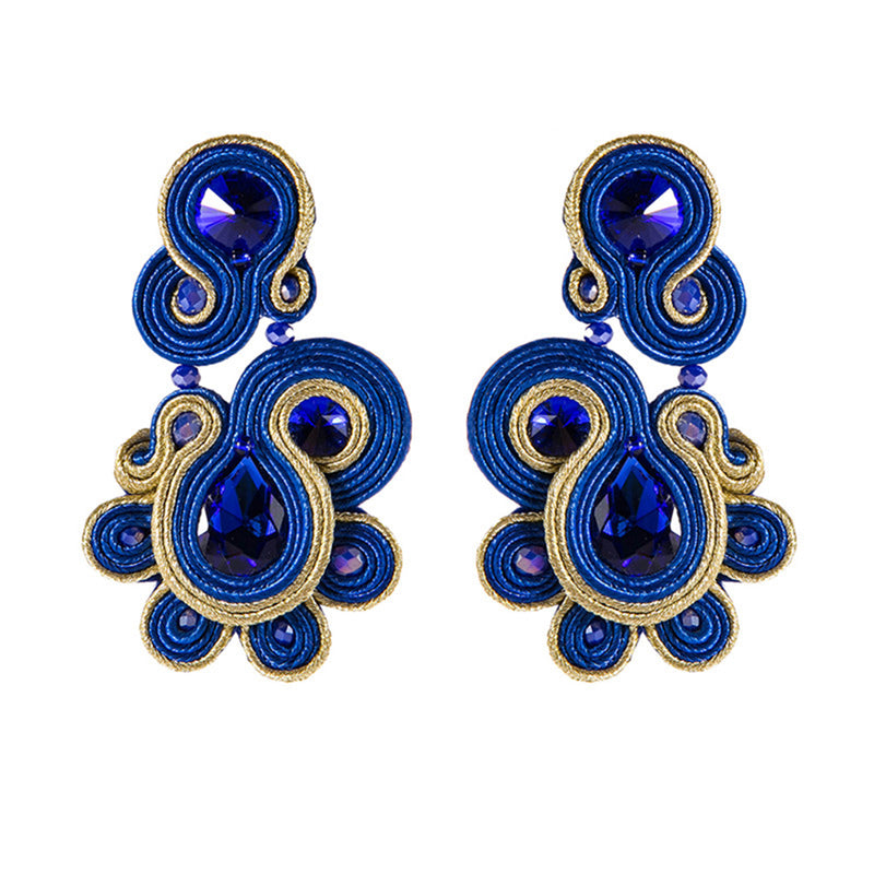 Ethnic Style Soutache Earring Leather Drop Earrings for Women- Blue Color