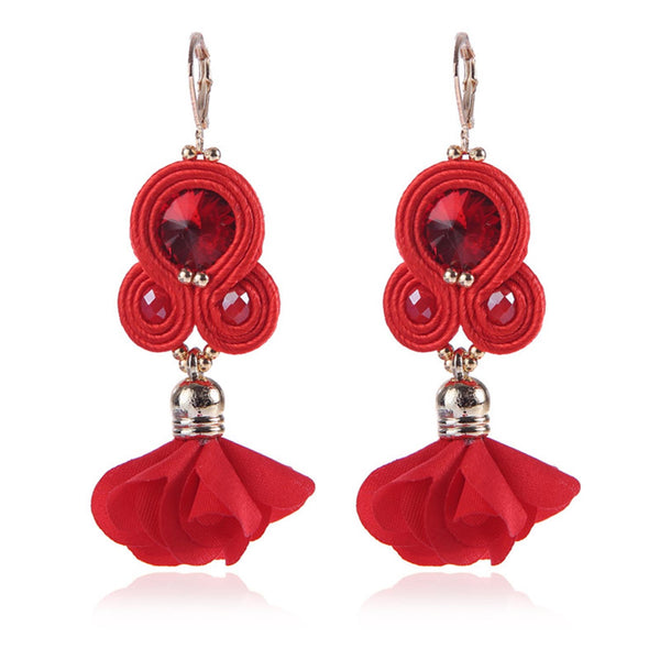 Handmade Soutache Long Hanging Earring Jewelry for Women-Red Color