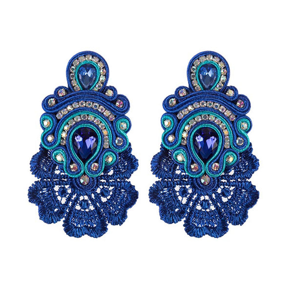 Large Crystal Pendant Soutache Earrings for Female-Blue Color