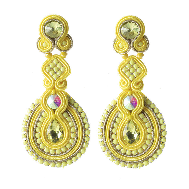 Female Soutache Ethnic Style Drop Earrings- Yellow Color
