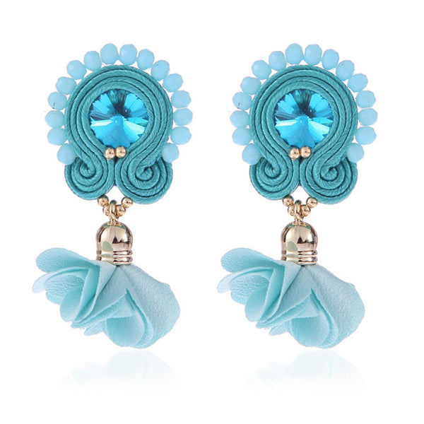 Soutache Big Drop Leather Hanging Earrings Jewelry for Women-Sky Blue Color