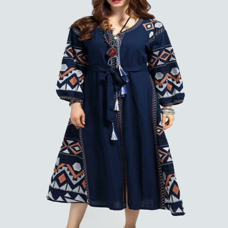 Women's Long sleeves Blue Dress with Multicolor Embroidery 400 Pcs