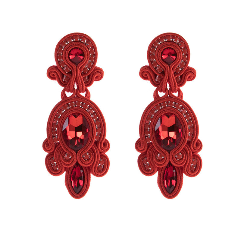 Big Hanging Leather Soutache Drop Earrings for Women-Red Color
