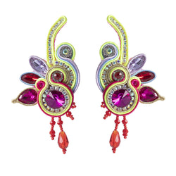 Handmade Soutache Long Hanging Leather Earrings for Women-Pink, Yellow Color