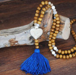 Handmade Wooden Beads Long Necklace & Pendant - Heart Shape with Blue Tassel