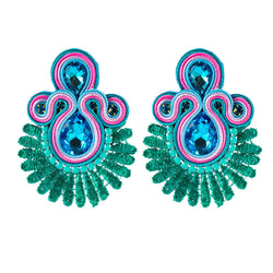 Crystal Decoration Drop Earring Soutache Earrings Jewelry for Female - Green Color