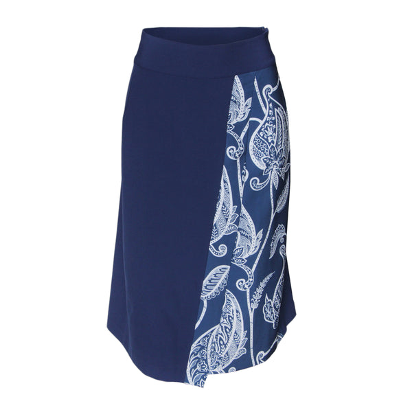 Rapheeze Designed Blue Side Printed Midi Skirt