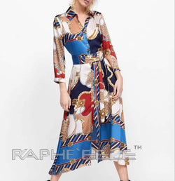 Multi Color Polyester Silky Print Dress