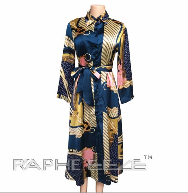 Blue Gold Silky Designed Tunic