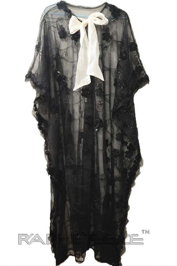 Black Trendy Silk Lace  Long  Maxi Caftan