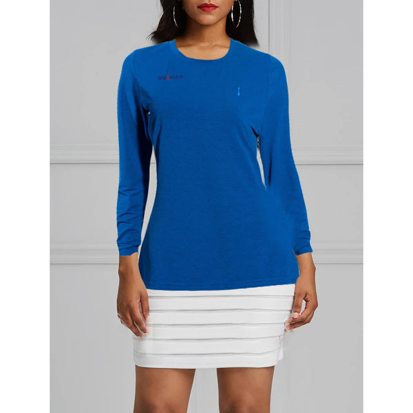 Cross Logo Long Sleeve UV Dress T-Top- Blue