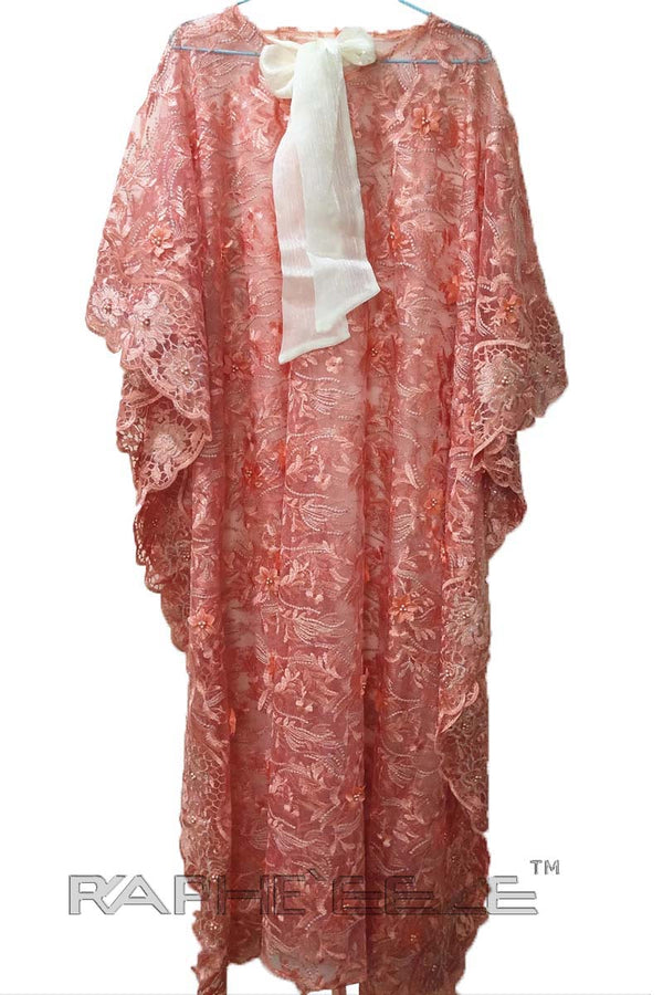 Coral Lace Caftan Maxi Gown