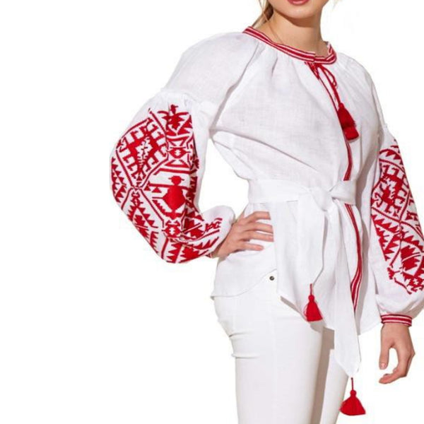 Women's Long Sleeves White Top With Red Embroidery 400 Pcs