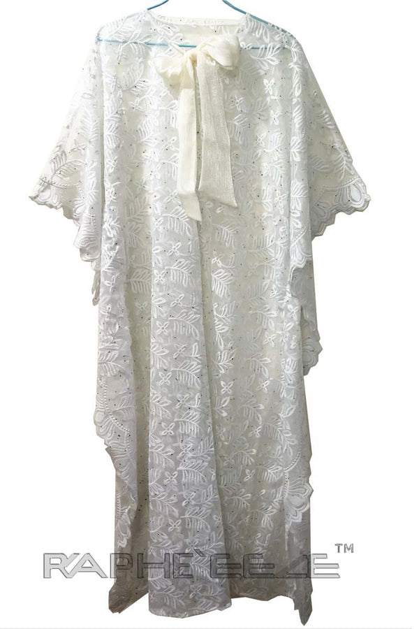 Rich White Cotton Lace Maxi Caftan