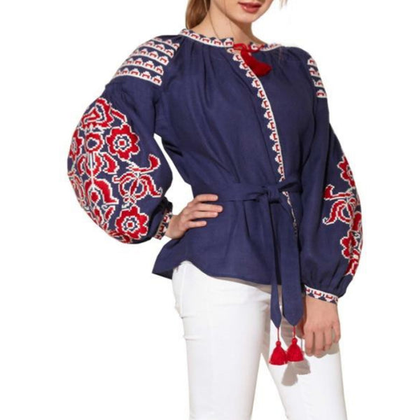 Women's Long Sleeves Blue Top With Red and White Embroidery 400 Pcs