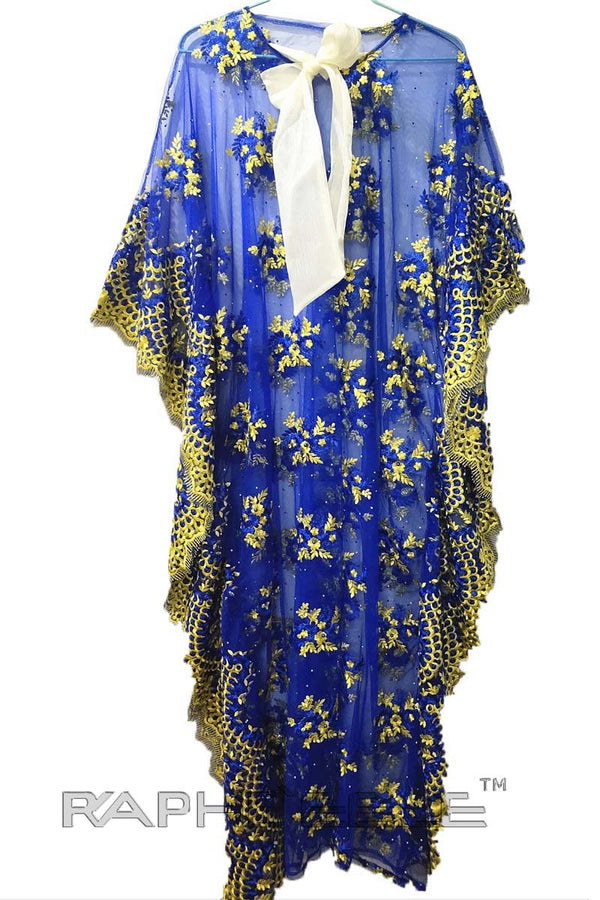 Royal Blue Gold Caftan Maxi