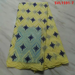 Yellow Cotton Lace Fabrics With Embroider Fabric 5 Yards