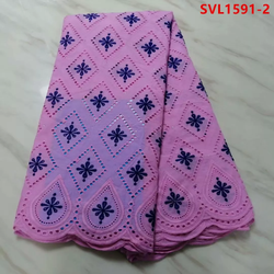 Embroidery Net Lace Pink & Blue Combo  5 Yards
