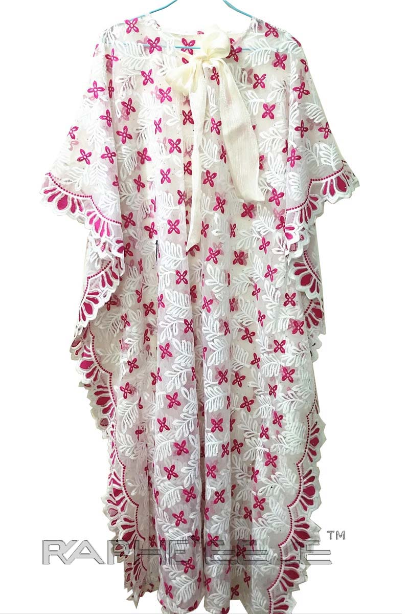 White Pink Cotton Lace Caftan Maxi