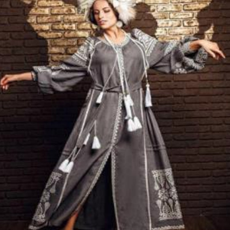 Women's Long Sleeves Grey Dress With White Embroidery 100 Pcs