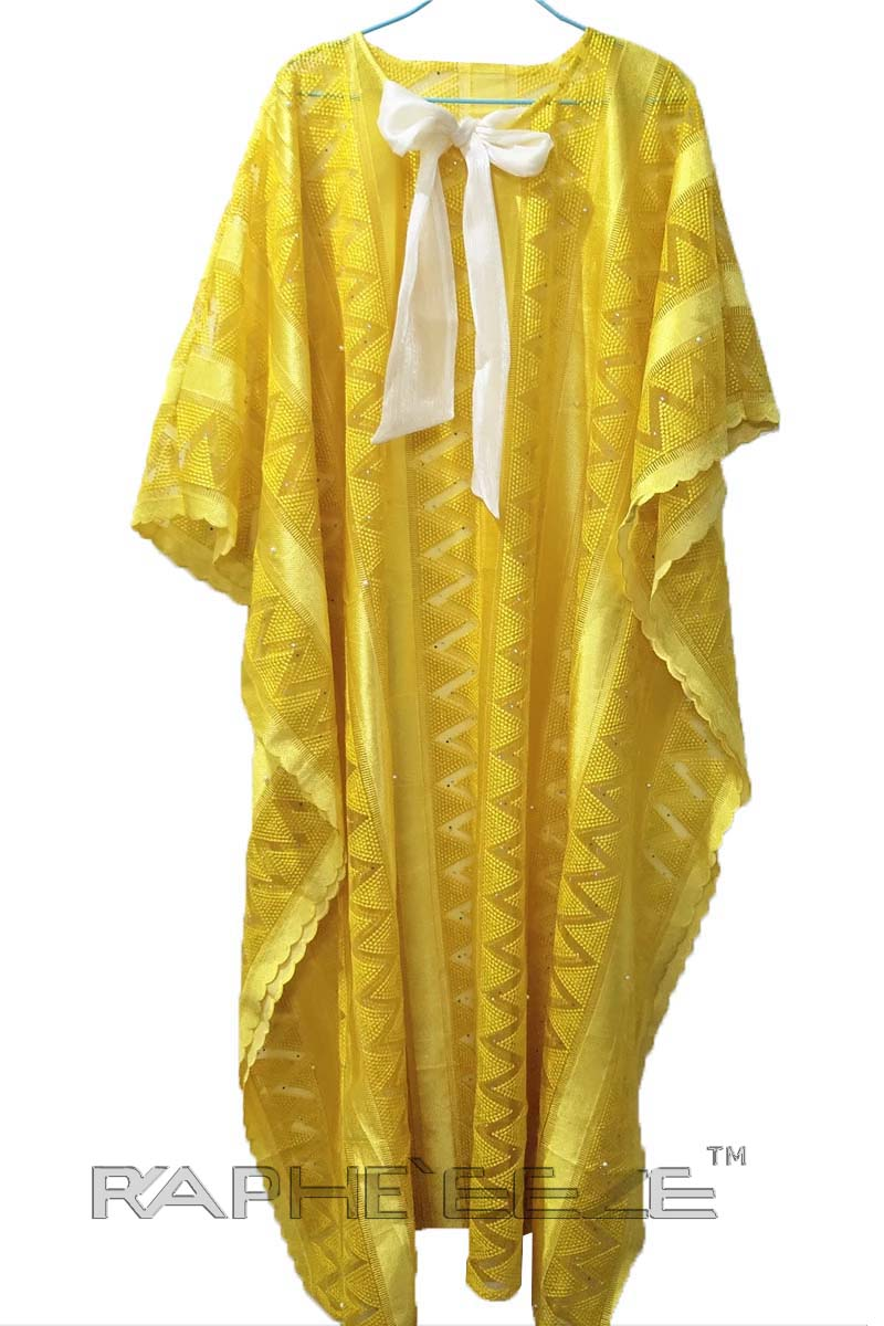 Yellow Cotton Lace Caftan Maxi